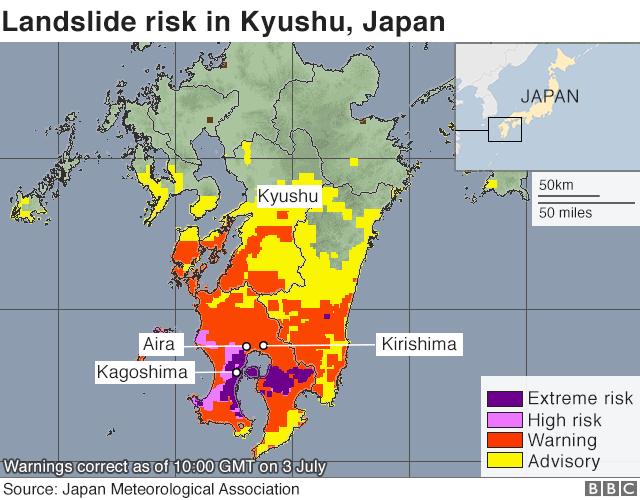 ភ្លៀងធ្លាក់ខ្លាំងជន់លិចដីបាក់ស្រុតរហូតត្រូវជម្លៀសប្រជាជន ២៤៥,០០០ នាក់ជាបន្ទាន់ក្នុងខេត្តចំនួន ៣ នៅកោះ Kyushu