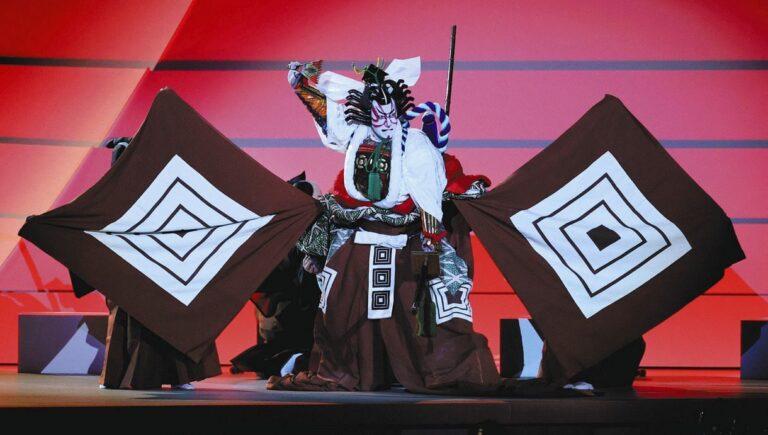 ល្ខោន Kabuki ក្នុងពិធីបើកសម្ភោធព្រឹត្តិការណ៍កីឡាអូឡាំពិកទីក្រុងតូក្យូ
